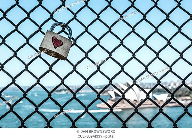 Love padlock on Sydney harbour Bridge, Sydney, New South Wales, Australia