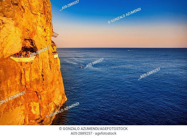 Cova d en Xoroi, Disco Bar at Cala n Porter.Menorca. Minorca. Balearic Islands. Spain