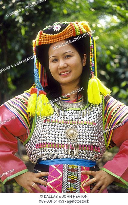 Thailand, Chiangmai, Lisu Hilltribe Costume, Girl