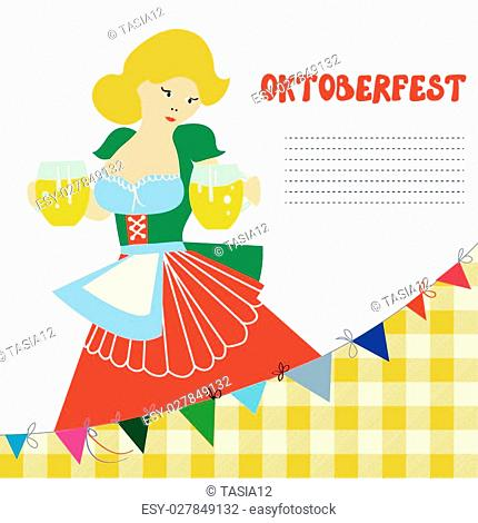 Banner for Oktoberfest with girl and beer - funny card