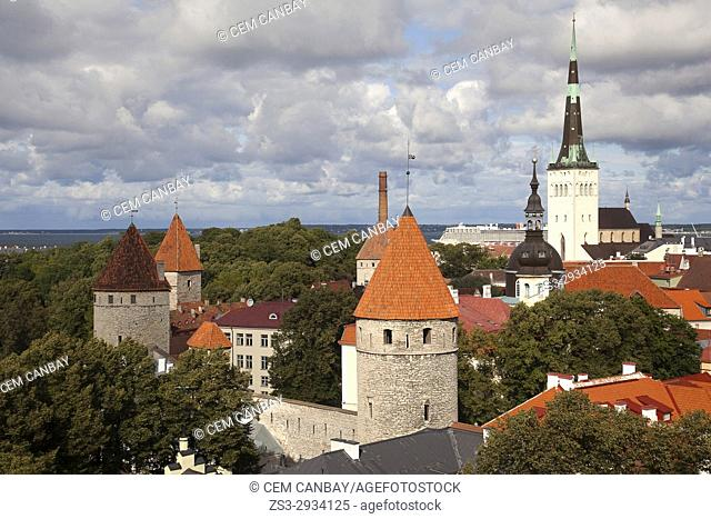 View to the medieval walls and towers in the old town with the St. Olav's Church at the background, Tallinn, Estonia, Baltic States, Europe