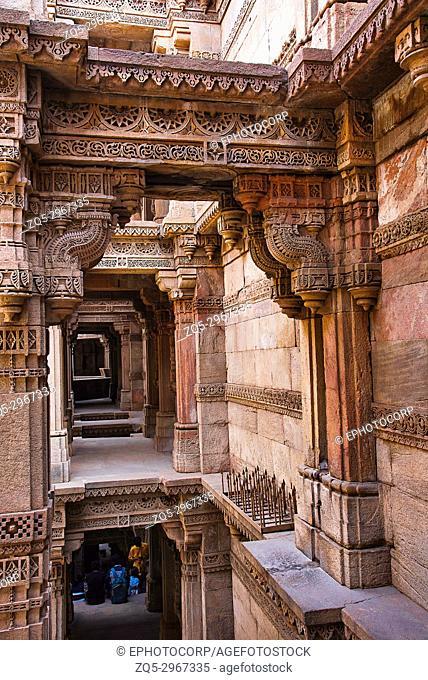 Inner view of Adalaj Ni Vav (Stepwell), or Rudabai Stepwell. Ahmedabad, Gujarat, India