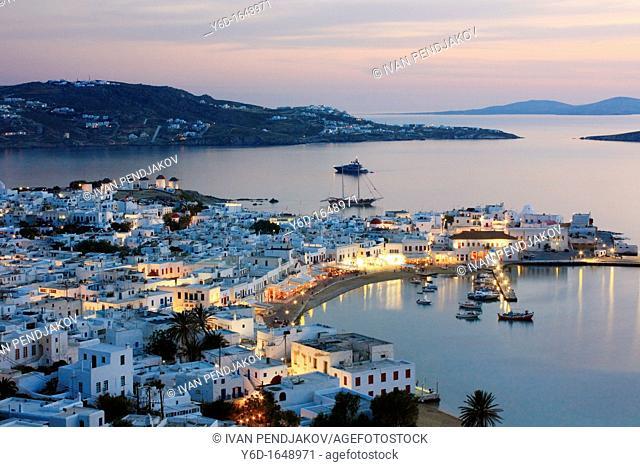 Mykonos Town at Sunset, Mykonos, Cyclades, Greece
