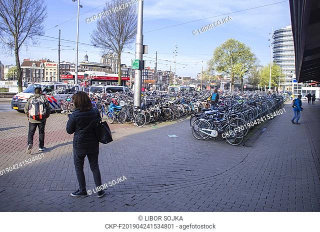Bikes parking in front of the main railway station in Amsterdam, Netherlands, on Friday, April 5, 2019. (CTK Photo/ Libor Sojka)
