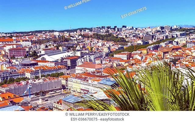 Orange Roofs Market Rossio Square Lisbon Portugal. View from Caselo de San Jorge from Observation Platform