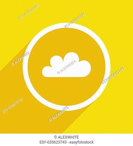 yellow flat design cloud web modern icon for mobile app and internet