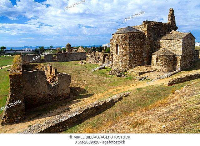 Santa Maria de Roses benedictine monastery. Citadel. Roses. Costa Brava, Gerona. Catalonia, Spain, Europe