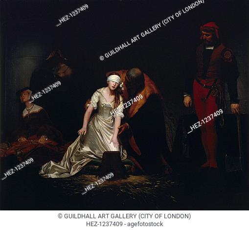 'The Execution of Lady Jane Grey', 1834. Scene at the Tower of London showing the impending execution of Lady Jane Grey in 1554
