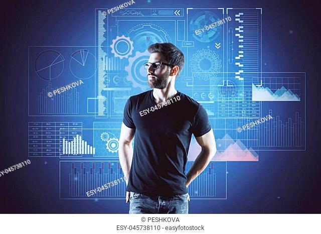 young man with glasses in black t-shirtat cyberspace and financial chart background. 3D render