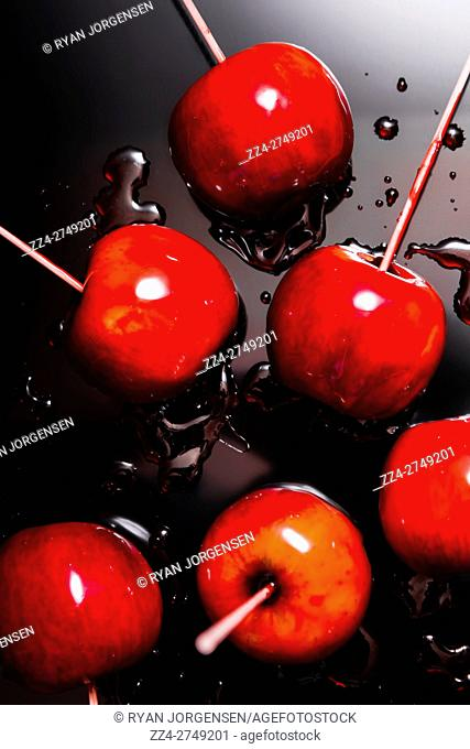 Red candy apples or apple taffy