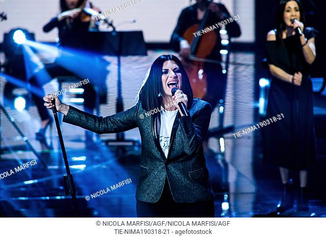 The Italian singer Laura Pausini during the performance at tv show Che tempo che fa, Milan, ITALY-18-03-2018
