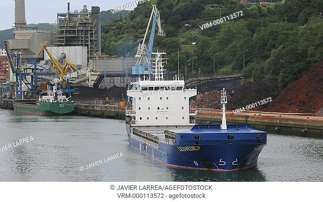 Ship, Port of Pasajes, Gipuzkoa, Basque Country, Spain