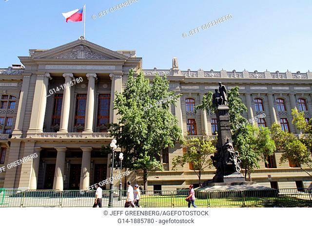Chile, Santiago, Compania de Jesus, Tribunales de Justicia, Corte Suprema, Supreme Court building, highest court, law, judicial branch, judiciary, flag