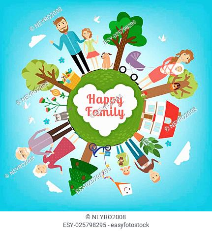 Happy family in all the earth. Child and parent, kid and love, mother and father. Vector illustration