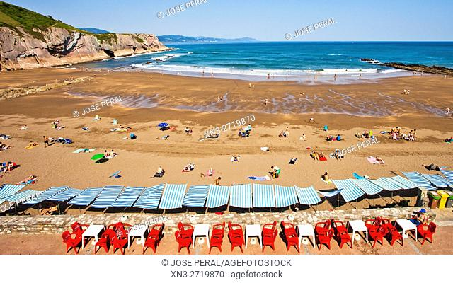 Itzurun Beach, Zumaia, Bay of Biscay, Cantabrian Sea, Gipuzkoa Province, Basque Country, Spain, Europe