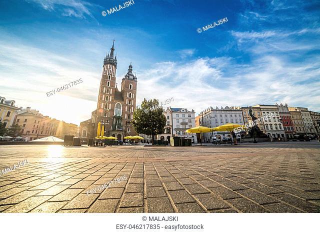 Cloth's Hall and Saint Mary's Church on market square of Krakow, Poland, Europe