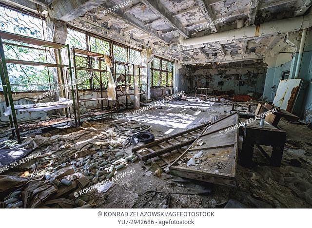 Hall in abandoned Jupiter Factory in Pripyat ghost town of Chernobyl Nuclear Power Plant Zone of Alienation in Ukraine