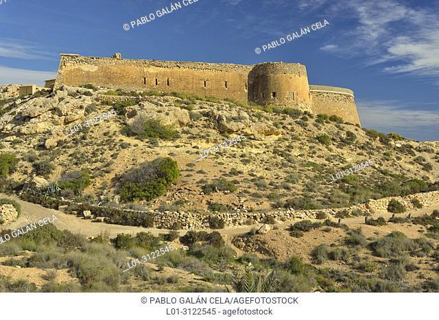 Castillo de San Ramon. Coastal landscape north of playazo. Almeria province, Andalusia, Spain