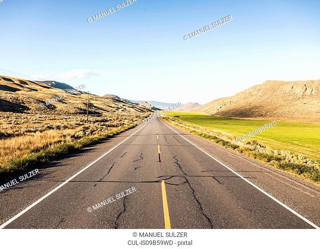 Empty road, Trans Canada Highway, near Kamloops, Boston Flats, British Columbia, Canada