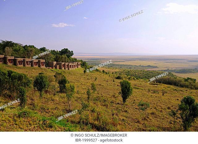 Rooms of the Mara Serena Safari Lodge overlooking the Masai Mara, Kenya, Africa
