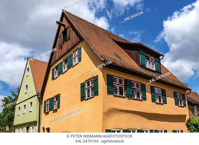 Colored old houses, Dinkelsbuhl, Romantic Road, Middle Franconia, Bavaria, Germany