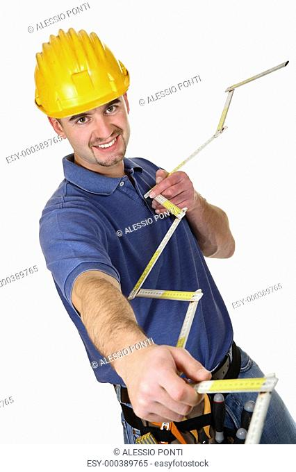 isolated yourg smailing standing worker