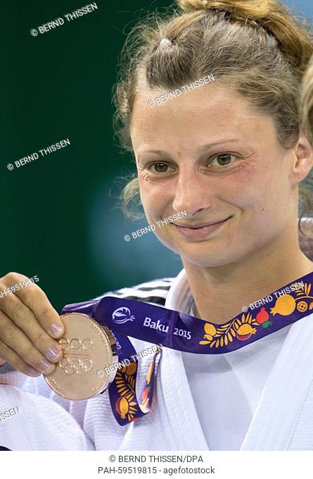 Germanys Mareen Kraeh looks down to bronze medal for the Women's -52kg Judo Women's at the Baku 2015 European Games in Heydar Aliyev Arena in Baku, Azerbaijan