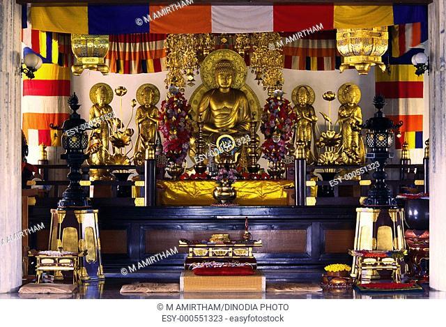 Buddha image of Japan daijokyo temple at Bodhgaya , Bihar , India