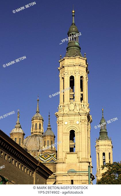 Spire of Basílica de Nuestra Senora del Pilar Zaragoza Spain