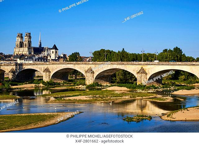 France, Loiret, Orleans, the Loire, Georges 5 bridge and Sainte-Croix cathedral