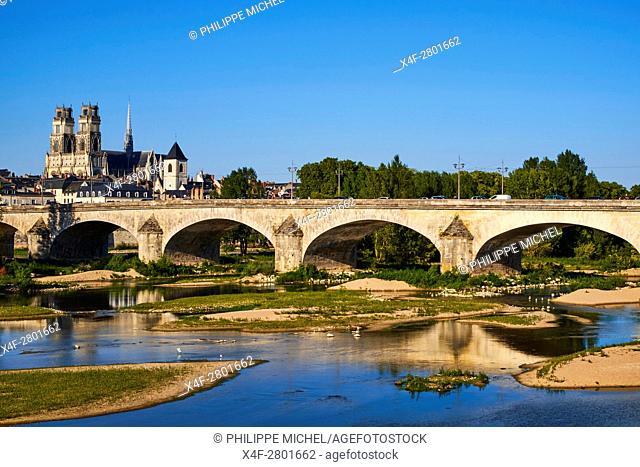 France, Loiret, Orleans, the Loire, Georges 5 bridge and Sainte-Croix cathedral