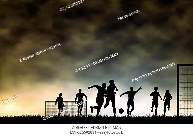 Editable vector illustration of men playing football with sky made using a gradient mesh