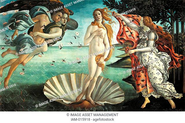 'The Birth of Venus' 1486, painting by the Italian Renaissance painter Sandro Botticelli c. 1445 - 1510. It depicts the goddess Venus