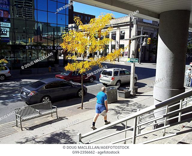 A man walks downtown during lunch hour in the early autumn, Windsor, Ontario, Canada