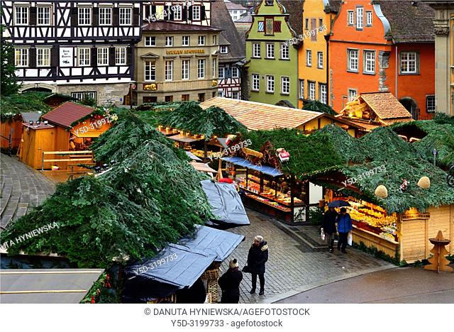 Christmas market at Marktplatz, historic part of Schwäbisch Hall, Schwäbisch Hall, Baden-Württemberg, Germany, Europe