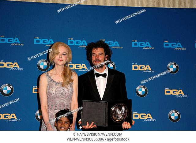 The 69th Annual Director Guild Awards held at the Beverly Hilton - Press Room Featuring: Nicole Kidman, Garth Davis, Sunny Pawar Where: Beverly Hills