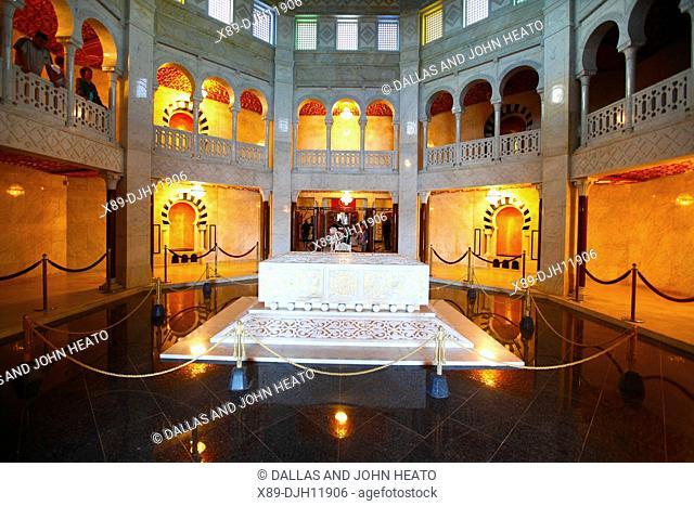 Africa, Tunisia, Monastir, Interior of the Mausoleum of Habib Bourguiba, Habib Bourguiba's Sarcophagus