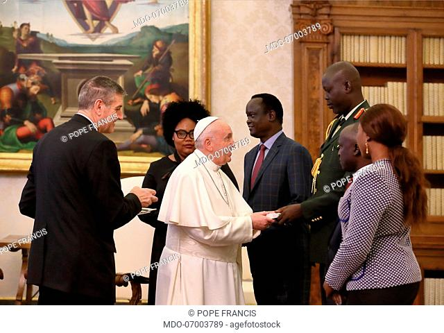Pope Francis meets the President of the Republic of South Sudan Save Kiir Mayardit in the Private Library of the Apostolic Palace