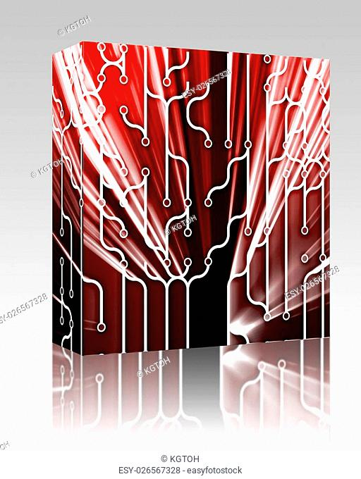 Software package box Abstract wallpaper illustration of electronic circuitry patterns
