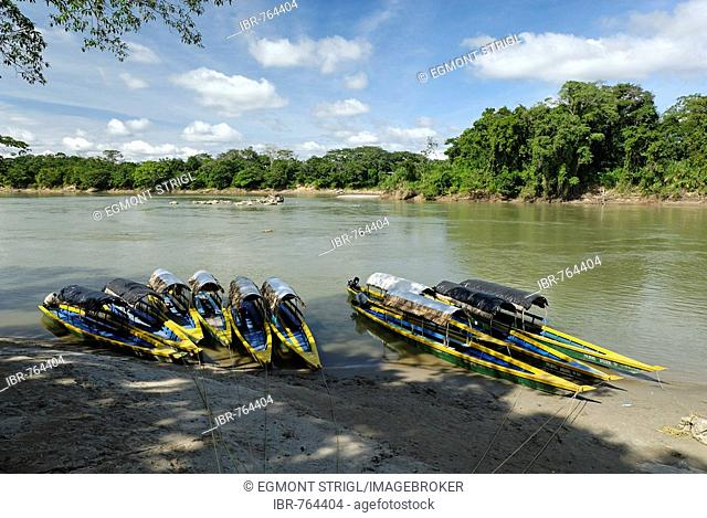 Boats on the Usumacinta River, Chiapas, Mexico, Guatemala, Central America