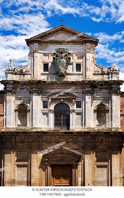 Church Santa Chiara Refugio at Via Di Firra Vecchia and Via Roma, Siena, Tuscany, Central Italy, Italy, Europe
