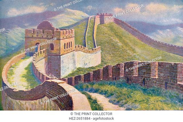 'China. Hwang Ti began the Great Wall of China in 214 B.C. Of its huge length of 1,500 miles the best preserved section is at the Nankow Pass where the masonry