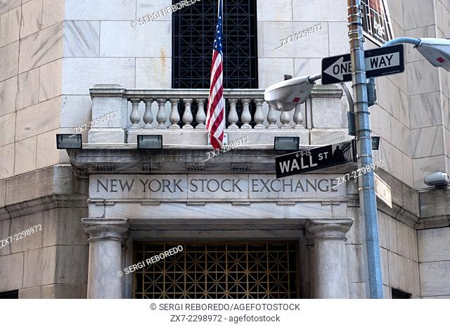Building of the NYSE. New York Stock Exchange. 11 Wall St. (closed to the public for security reasons). The building of the bag