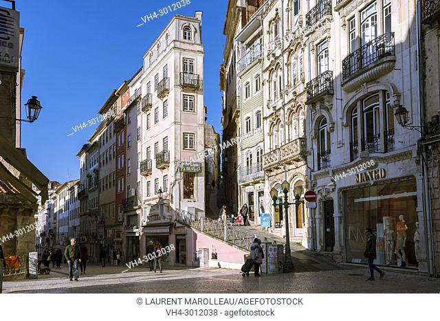 Ferreira Borges Street, a Pedestrian Way in the Historical Center of Coimbra, Baixo Mondego, Centro Region, Portugal, Europe