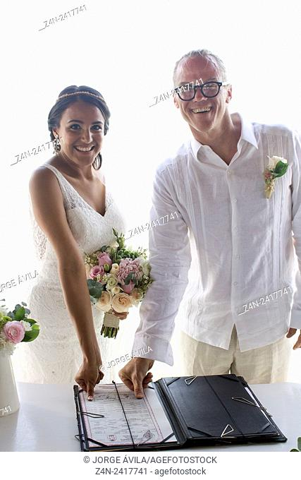 Beuautiful intercultural couple, wedding