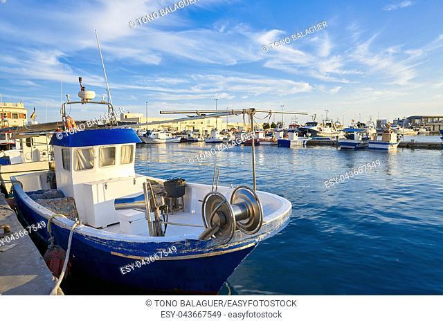 Santa Pola port fisherboats in Alicante of Spain