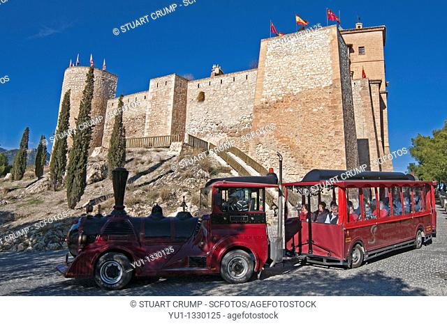 Tourist train travels from the Castle down to the City of Caravaca de la Cruz, Murcia, Spain