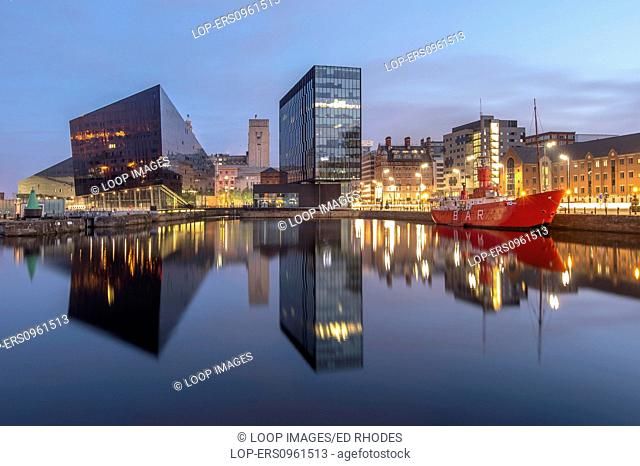 Mann Island apartments with Liver Building and lightship at Canning Dock