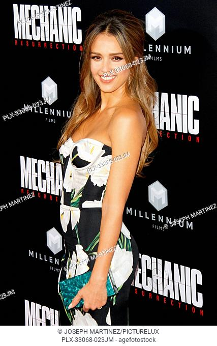 Jessica Alba at the premiere of Summit Entertainment's Mechanic: Resurrection held at ArcLight Hollywood in Hollywood, California on August 22, 2016