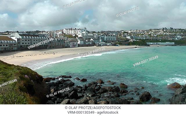 View over the Porthmeor Beach of St Ives seen from The Island, Cornwall, England, UK